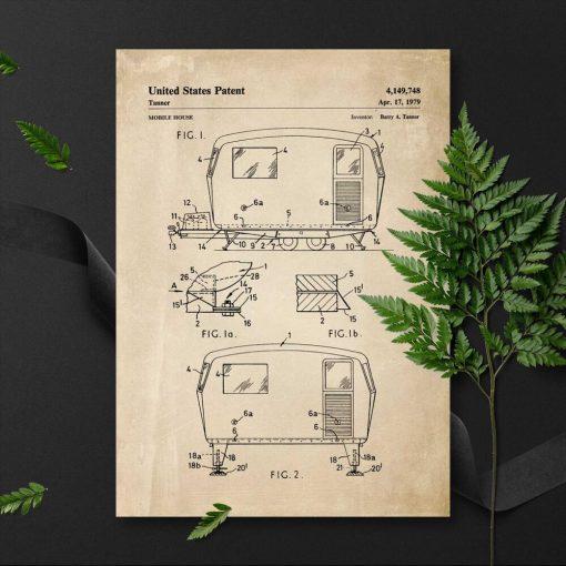 Plakat z patentem na przyczepę na prezent