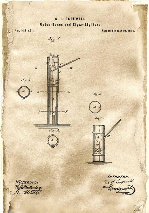 Plakat z patentem na pudełko zapałek
