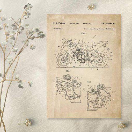 Plakat z projektem budowy motocykla