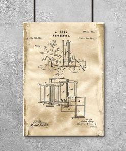 Plakat z rysunkiem konstrukcyjnym kombajnu z 1874r.