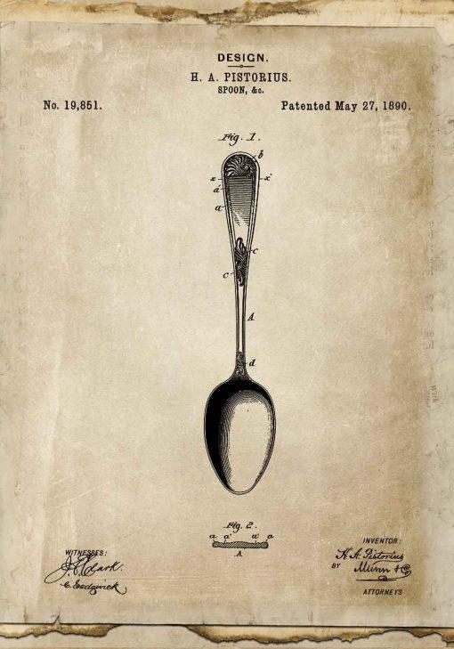Plakat z rysunkiem opisowym łyżki dla ucznia