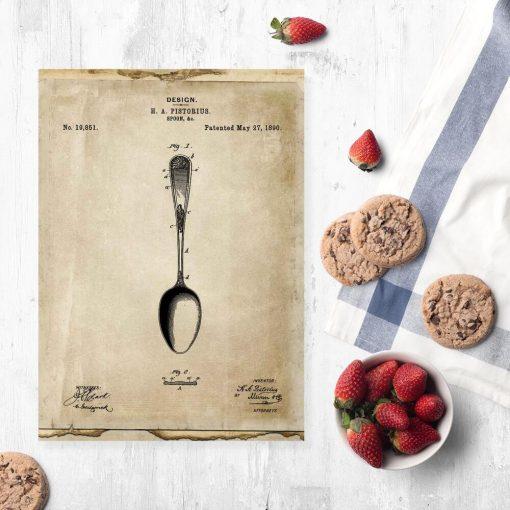 Plakat z rysunkiem opisowym łyżki do jadalni