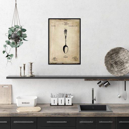 Plakat z rysunkiem opisowym łyżki do kuchni