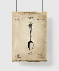 Plakat z rysunkiem opisowym łyżki do restauracji