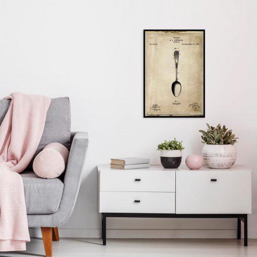 Plakat z rysunkiem opisowym łyżki do salonu