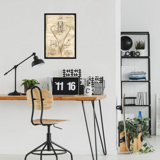 Plakat z rysunkiem opisowym stetoskopu do biura