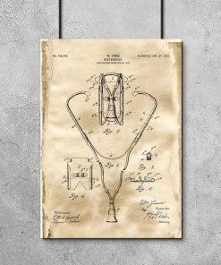 Plakat z rysunkiem opisowym stetoskopu do gabinetu lekarskiego