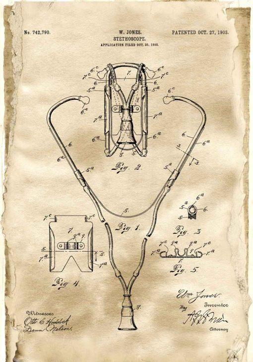 Plakat z rysunkiem opisowym stetoskopu do szkoły