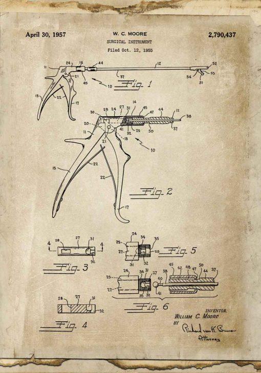 Plakat z rysunkiem patentowym kleszczy chirurgicznych dla studenta medycyny