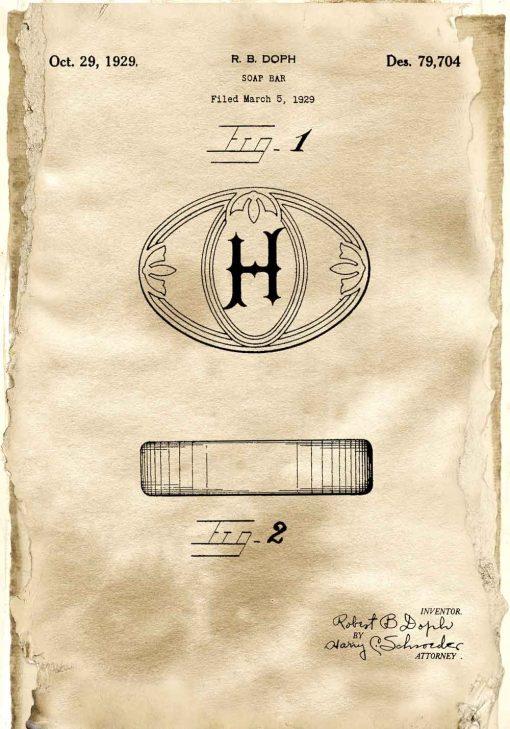 Plakat z rysunkiem patentowym mydła