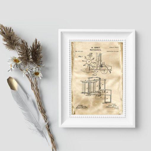 Plakat z rysunkiem patentowym na budowę maszyny rolniczej