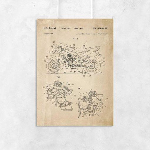 Plakat z rysunkiem patentowym na motocykl do powieszenia w salonie motoryzacyjnym