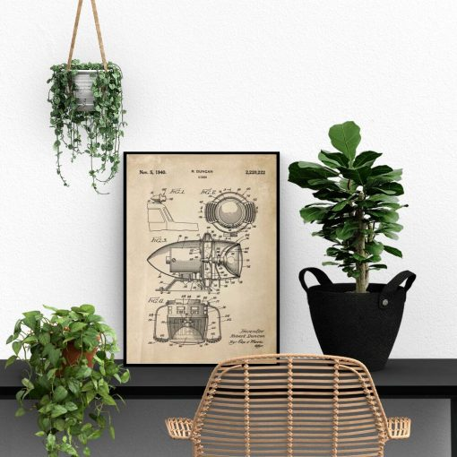 Plakat z rysunkiem patentowym syreny alarmowej do biura