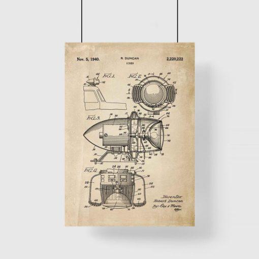 Plakat z rysunkiem patentowym syreny alarmowej do przedpokoju