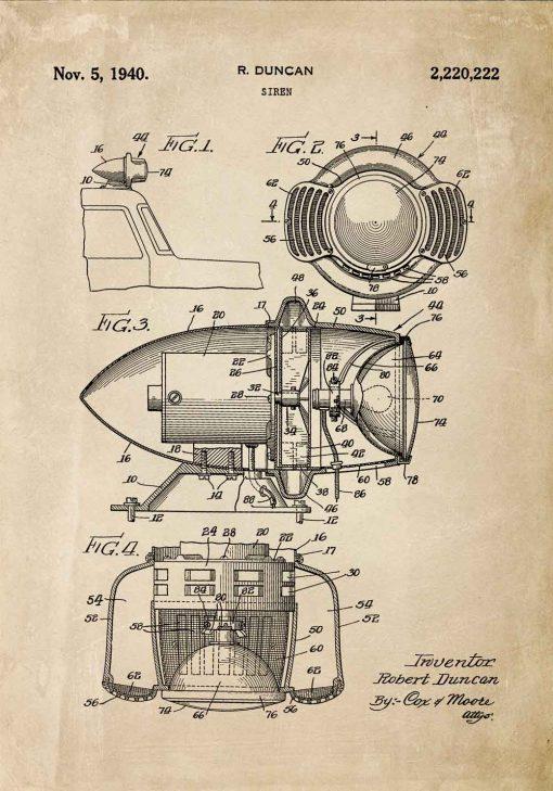 Plakat z rysunkiem patentowym syreny alarmowej