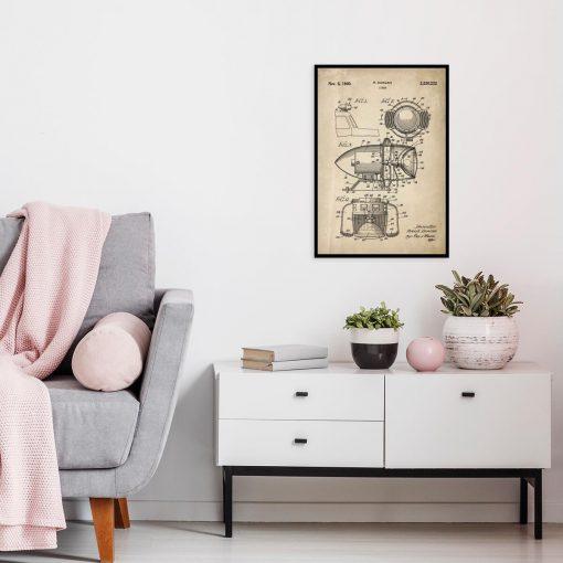 Plakat z rysunkiem patentowym syreny do salonu