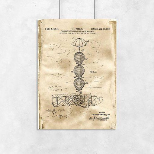 Plakat z rysunkiem patentowym - Zabezpieczenie samolotu do biura