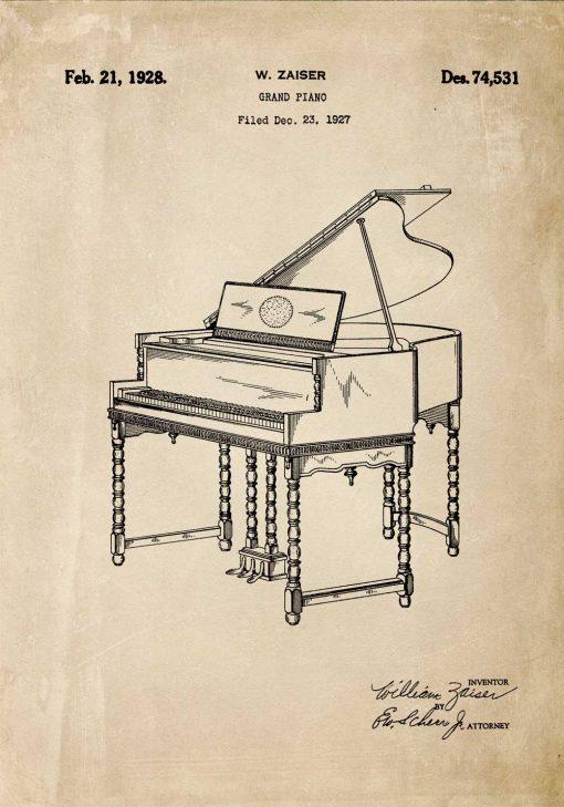 Plakat z rysunkiem pianina z 1928r.