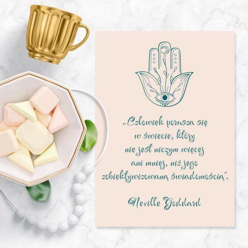 Plakat z symbolem amuletu i prawdą życiową