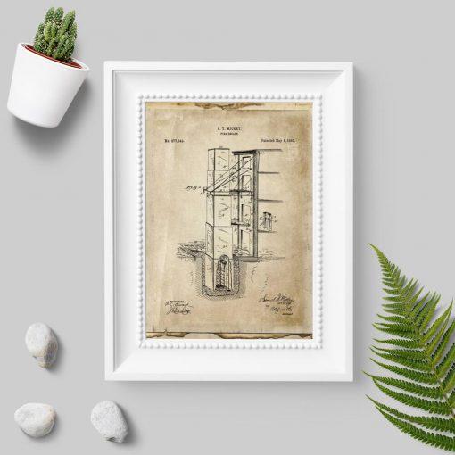 Plakat z wynalazkiem p. pożarowym - wyjście pożarowe
