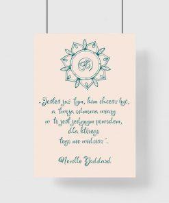 Plakat ze słowami N. Goddarda o sile przyciągania