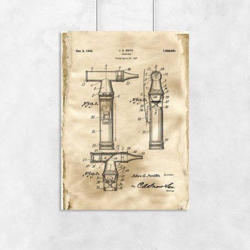 Poster dla lekarza - Patent na otoskop laryngologiczny
