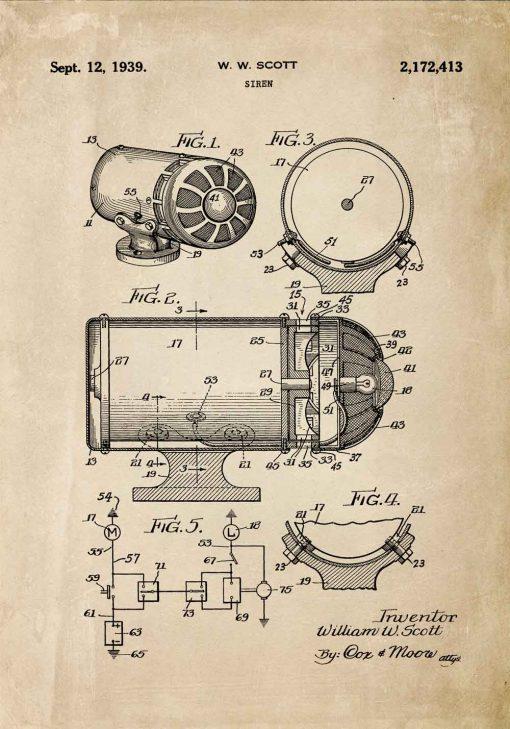 Poster z rysunkiem patentowym - Syrena alarmowa