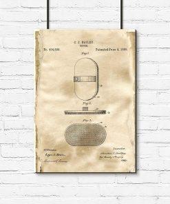 Poster z rysunkiem patentowym szczotki do salonu fryzjerskiego