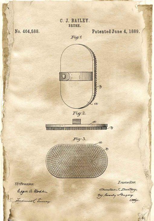 Poster z rysunkiem patentowym szczotki