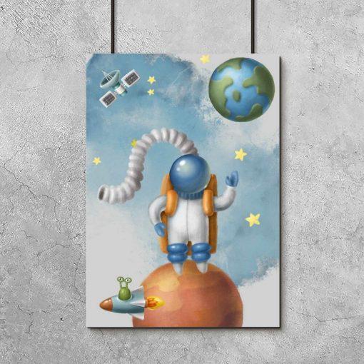 Bajkowy plakat do przedszkola z astronautą