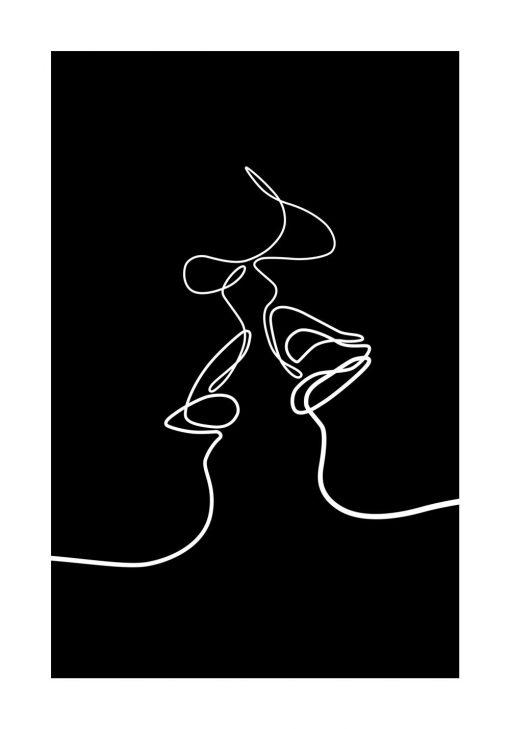 Czarno-biały plakat kobieta i mężczyzna do ozdoby ściany w sypialni