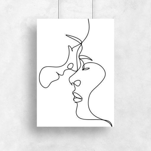 Czarno-biały plakat z motywem szkiców twarzy