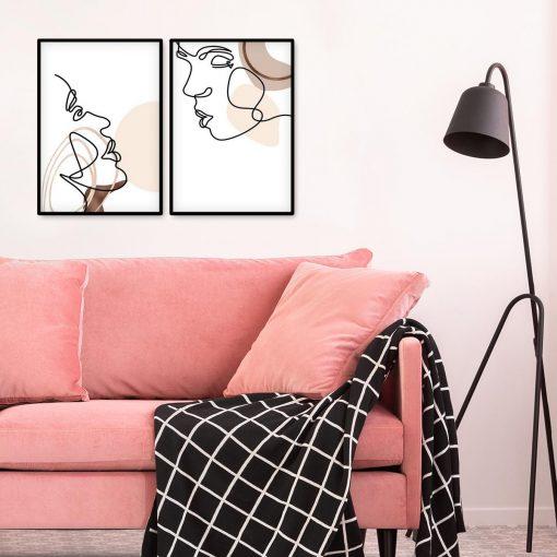 Dwa plakaty w stylu line art