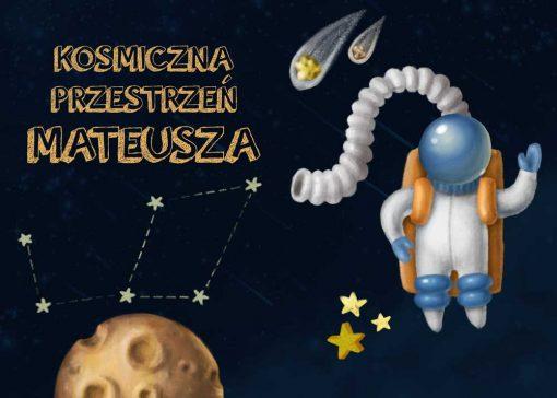 Dwa plakaty z kosmonautą i imieniem Twojego dziecka