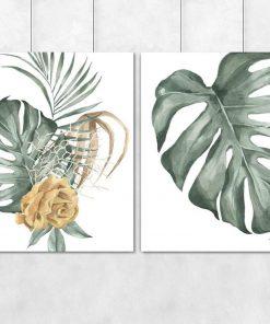 Dwa plakaty z monsterą i różą