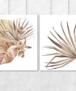 Dwa plakaty z motywem tropikalnych liści