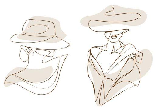 Dyptyk plakatowy z kobietą w kapeluszu do powieszenia w salonie