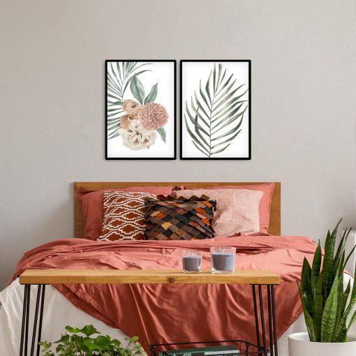 Dyptyk plakatowy z motywem liści w zielonych kolorach