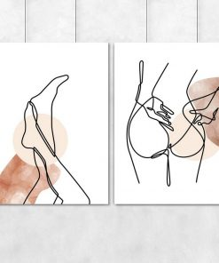Dyptyk plakatowy z nagą kobietą - line art