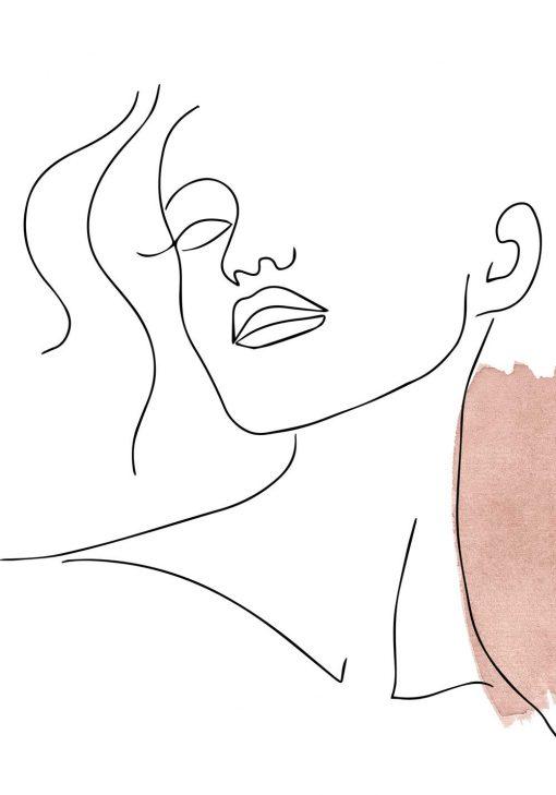 Minimalistyczny plakat z kobiecą twarzą - szkic