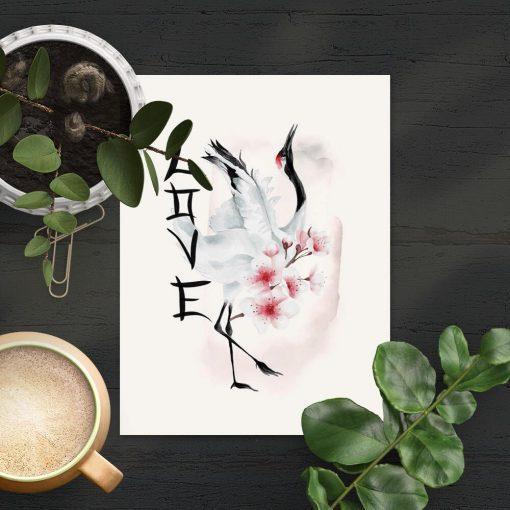 Plakat bez ramy z japońskimi elementami