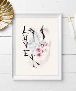 Plakat bez ramy z żurawiem