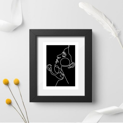 Plakat czarno-biały z zakochanymi do oprawienia