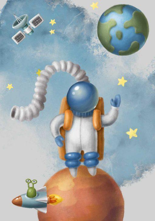 Plakat dla dziecka z kosmonautą
