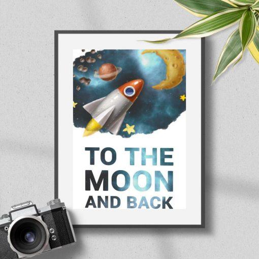 Plakat dla dziecka ze statkiem kosmicznym