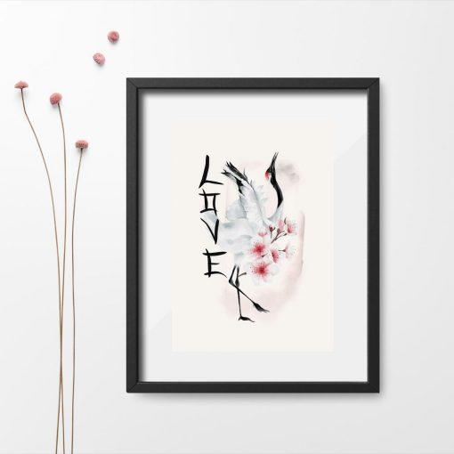 Plakat do oprawienia z kwiatami wiśni