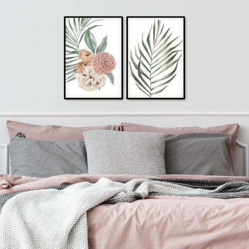 Plakat dyptyk z roślinami