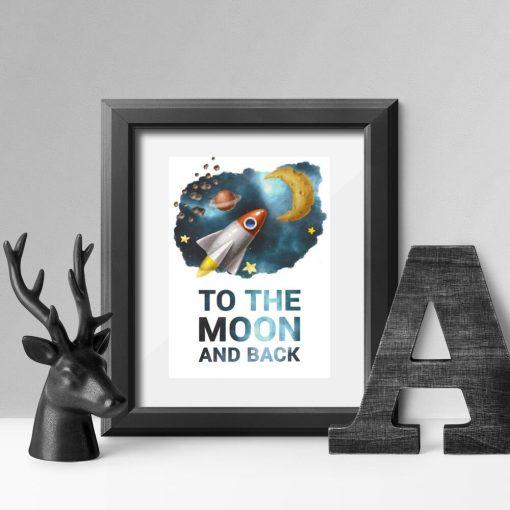 Plakat dziecinny z maksymą i rakietą