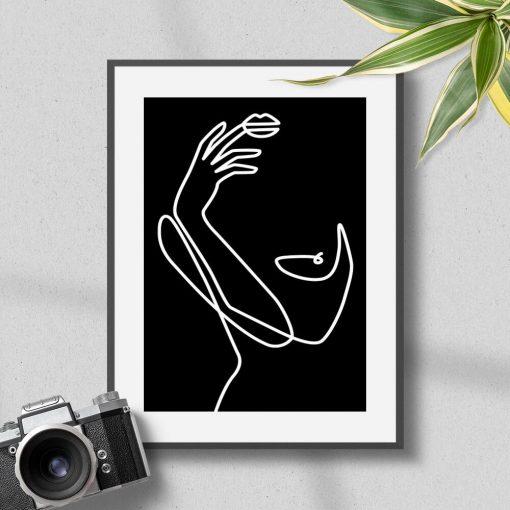 Plakat line art - kobieta do powieszenia w salonie