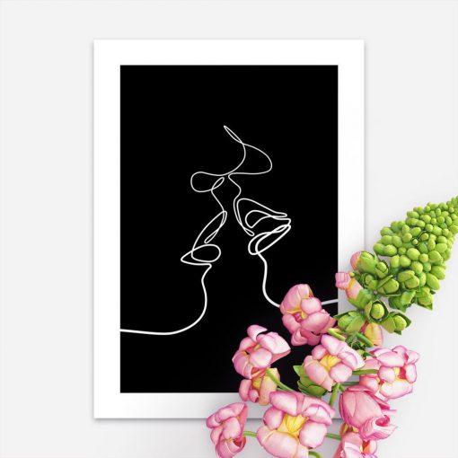 Plakat line art pocałunek w czarno-białych kolorach